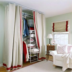 Set Up A Temporary Closet   Canu0027t Afford The Space Or Money To Build A  Closet? Hereu0027s One Great Solution Using Drapery Panels, Easy To Install  Hanging Rods, ...