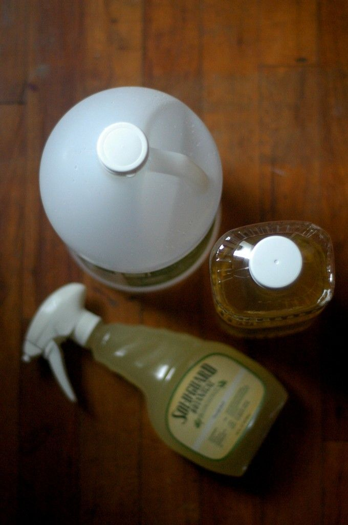 Homemade Hardwood Floor Cleaner & Polish:  - 1 recycled empty squirt bottle - 2 1/2 cups cheap, vegetable oil - 1 1/2 cups cheap, white vinegar - 15 drops essential oils, optional  Combine the oil, vinegar, and essential oil in the squirt bottle. You'll have to keep shaking to combine as you go. Squirt on your swept, hardwood floors. Mop over the floors with a rag or mop.