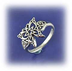 """Celtic Butterfly Ring - A potent symbol of transformation, the butterfly represents the spirit's ability to grow and renew itself, leaving behind the limitations of former days. Ring is made of sterling silver, and has a wingspan 5/8"""" across."""