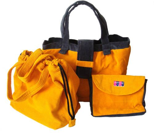 3 in 1 Tote in Yellow and Grey AUD69.00 This is a 3-in-1 tote that is the very good value for money. All the bags are made of corduroy material, fully lined and with padded wadding. The main bag has got a magnetic clasp and 2 internal pockets as well.   Dimensions: Main bag: 26.5cm width X 14cm deep X 28cm high (excluding strap), Strap 13cm from the centre Cosmetic bag: 19.5cm width X 15.5cm tall X 3.5cm deep http://www.imusthavethat.com.au/pd-3-in-1-tote-in-yellow-and-grey.cfm
