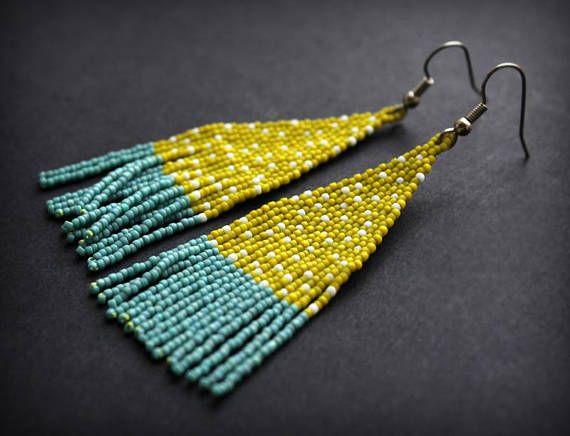 Unusual seed bead earrings Modern beaded earrings Long beaded