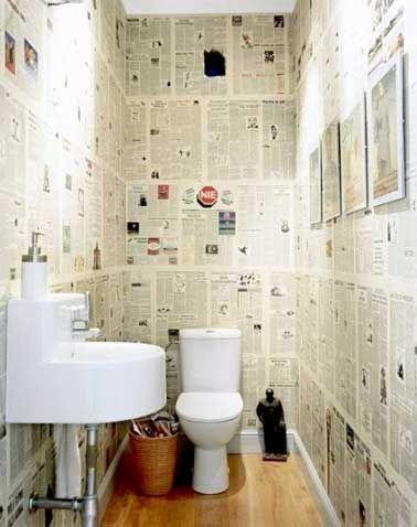 Du Papier peint journal pour la deco des WC                                                                                                                                                     Plus