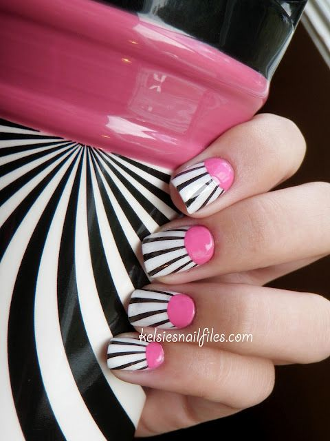 Kelsie's Nail Files: Inspired by a coffee mugNails Art, Inspiration, Nailart, Nails Design, Pink Nails, Black And White, Nailsart, Black White, Pink Black