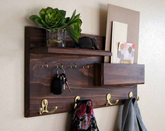 Coat Rack Wall Mount With Shelf Wooden Coat Rack Mudroom Etsy Entryway Coat Rack Decor Key Holder Diy