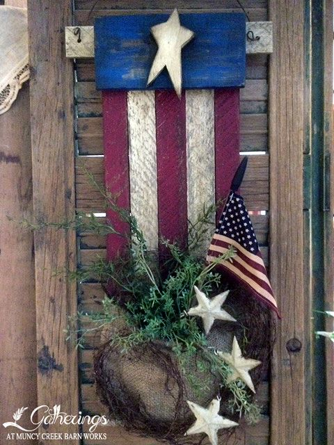 "June 21st, 22nd or 24th Stars - n- Stripes Sharon Culver 24"" long hanging wooden lath project with a burlap pouch brimming with patriotic pride!   (Cost $34+tax)"