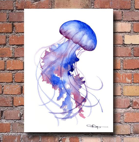 Jellyfish watercolor abstract painting wall decor for Jelly fish painting