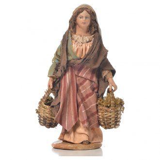 Mujer con cestas de musgo Belén 13 cm Angela Tripi terracota | venta online en HOLYART