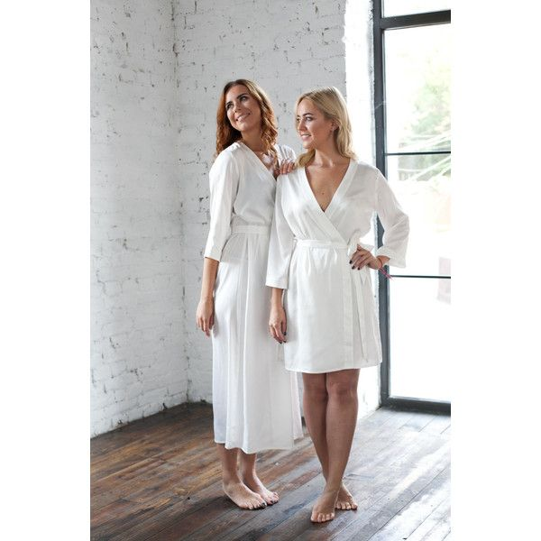 Ivory Robes, Satin dressing gown, Bridesmaid, Brides Dressing Gown,... (725 UAH) via Polyvore featuring intimates and robes