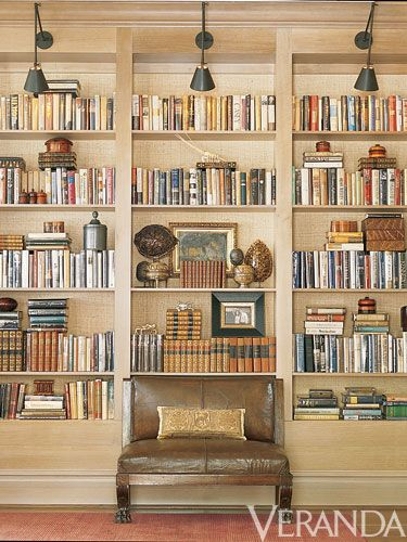 Library - Well designed with light fixtures over each book case + seating to enjoy a quick glance.  Love the palette and design conept.