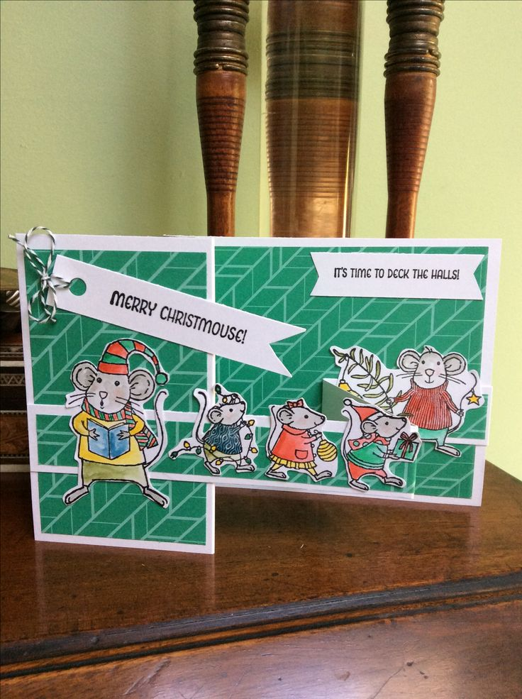 stampin up merry mice double z fold card