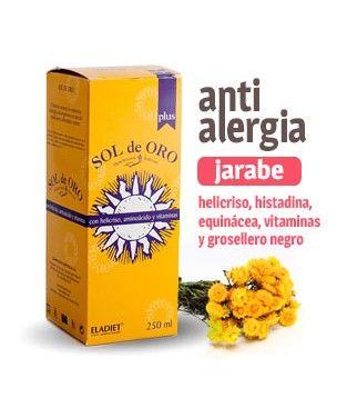 Jarabe anti alergia - Sol de Oro PLUS. Jarabe para la alergia natural de helicriso, histadina, equinácea, vitaminas y grosellero negro.