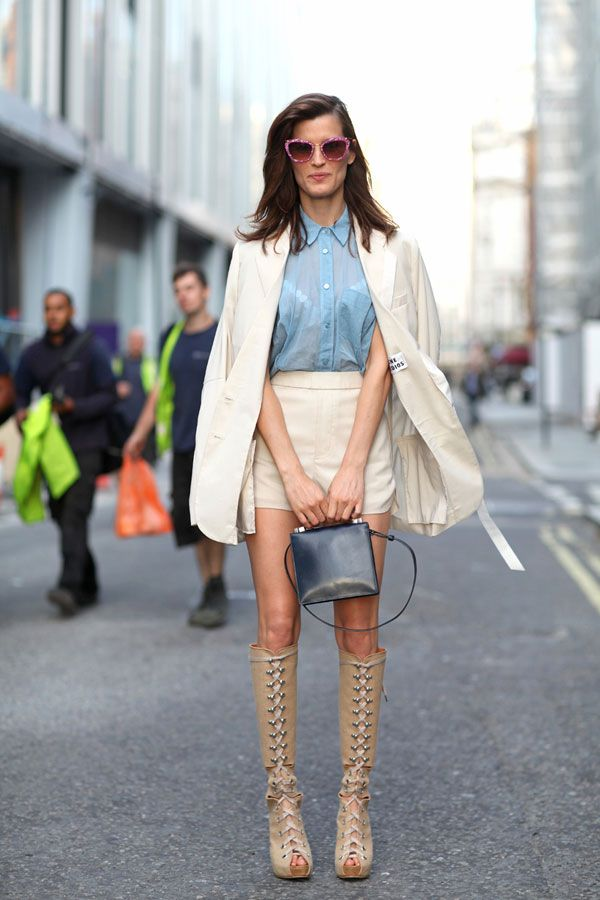 STREET STYLE SPRING 2013: LONDON FW - Hanneli takes her fall knee-high boots laced up.