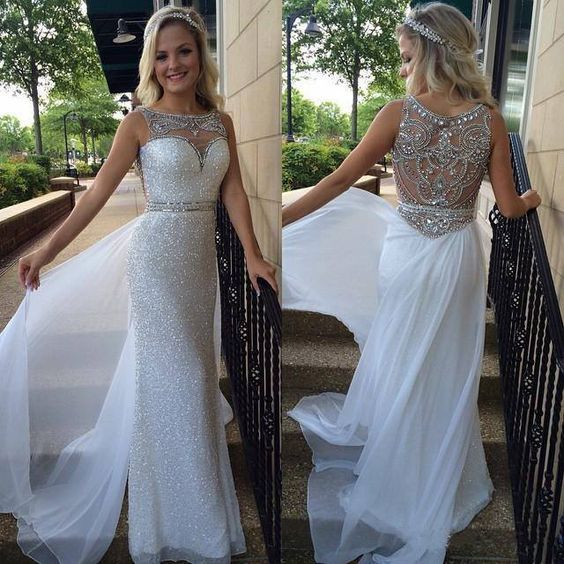 2016 round neck sparkly white chiffon long prom dress with see-through back details, ball gown, modest prom dress