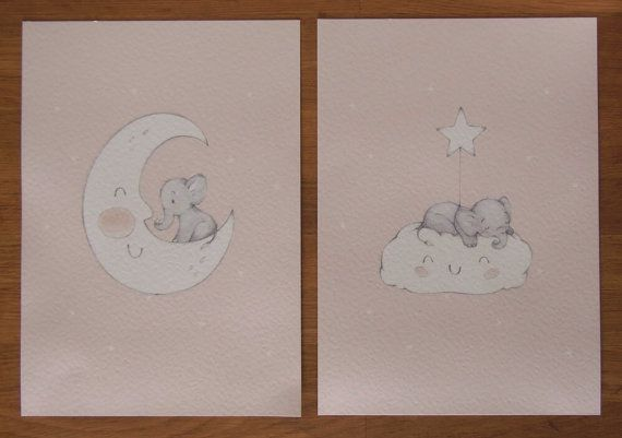 Pink Baby Elephant on Cloud Nursery Wall by LittleCupCreations