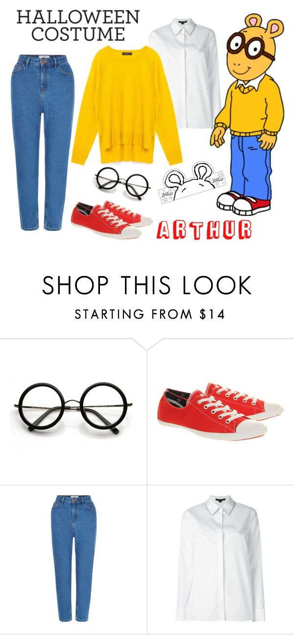 """Halloween Costume - Arthur the Aardvark"" by stylelibrarian ❤ liked on Polyvore featuring ZeroUV, Converse, New Look, Alexander Wang, Halloween, fallstyle, halloweencostume and DIYHalloween"