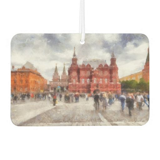 Air Freshener. Moscow, Russia. People walk on Manezhnaya Square. View of the State Historical Museum and the Iberian Gate and Chapel near Red Square and Kremlin. Photography. Painting digital imitation. My text is:«Welcome to Moscow» . You can remove text or add your version. customized, POD, buy, sale, gift ideas, zazzle, discount, gifts, shopping, trendy, stylish, unique artwork, photography, digital processing, cityscape, scenery, people, text, travel, tourism, europe #airfreshener