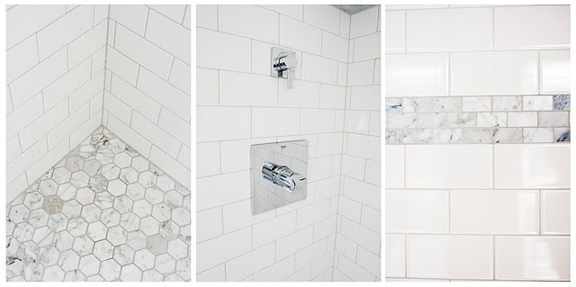 Subway tile with Hex Carrara Marble!! yes please!!