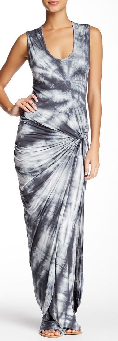 Stitch Fix:  Love the color, print, and hip detail.  Would like this better with a v-neckline.  fleur maxi dress - Nordstrom Rack sponsored
