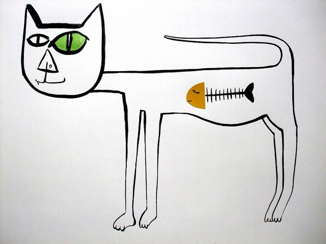 Stray cat   (with dulux paint chart fish head) by Hazel Terry