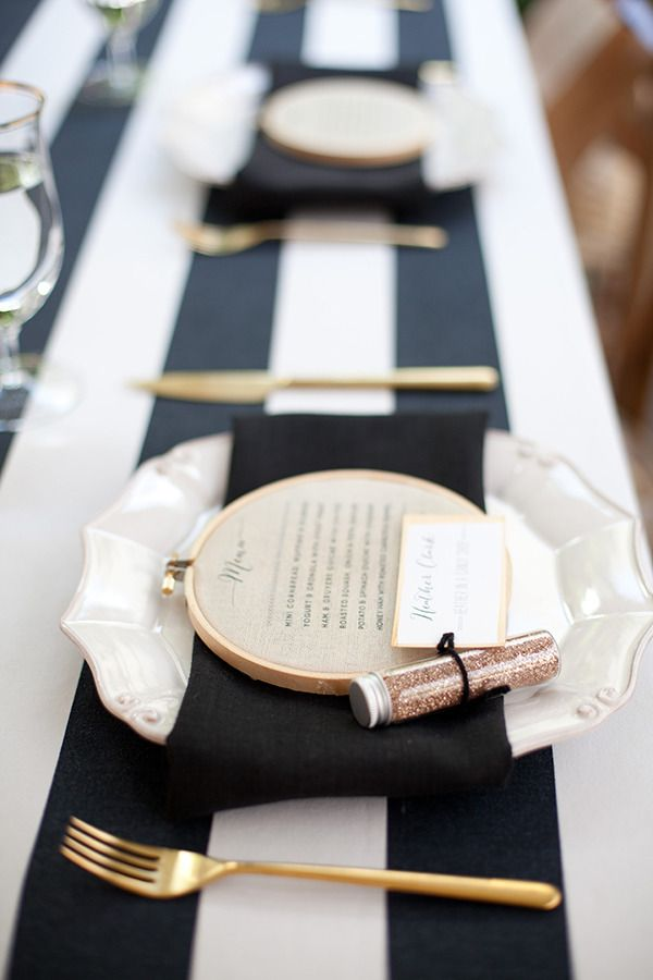#black & #white #wedding ideas Stripe table design with gold cutlery Photography By / http://meganclouse.com/