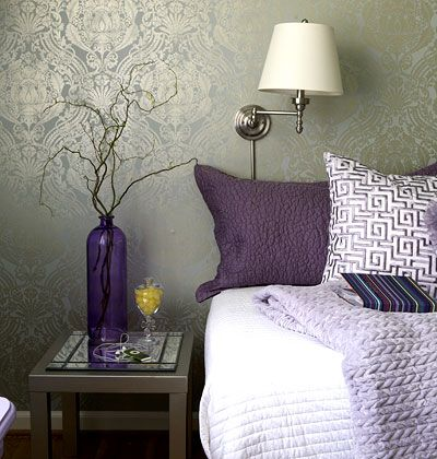 Create an Accent Wall    Start by setting a focal point. Wallpaper has made a serious comeback and will create a dramatic effect. Choose a large-scale pattern, such as this muted damask in calming hues of French blue and pewter. Cover one wall with the wallpaper, and paint the other walls and the ceiling a corresponding soft color.