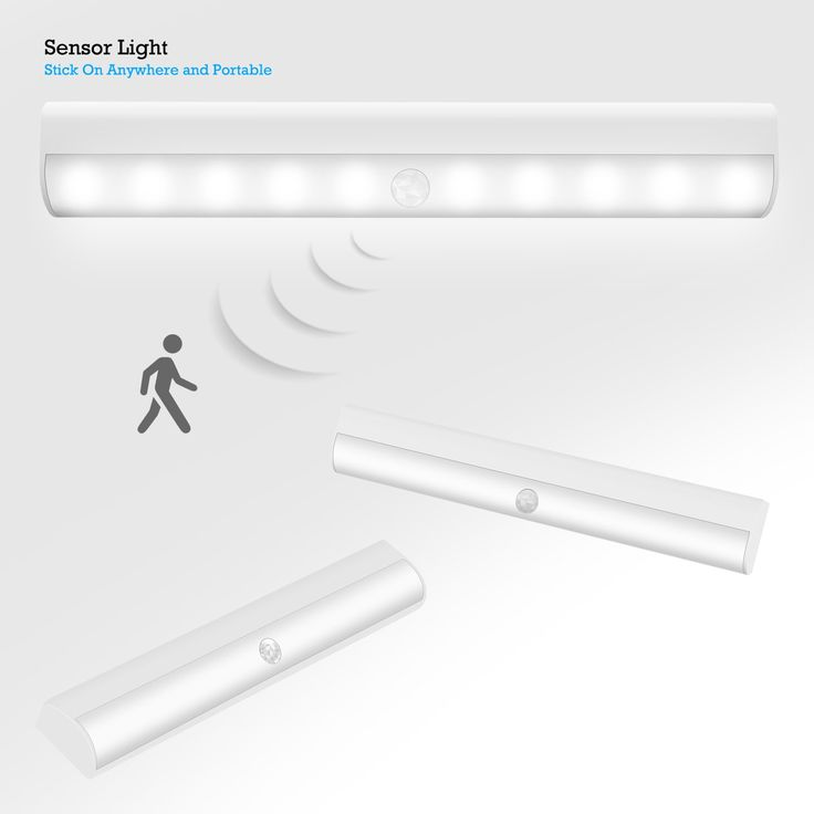 Sensor Light, Costech Bright 10 LED Wireless Motion Activated Sensing Closet Cabinet LED Night Light Display Battery Powered Lamp for Wardrobe ,Bathroom, Basement, Stair, hallway, Pantry etc (White). Versatile and Portable - the Night Light is built with aluminum alloy and has LED lifetimes up to 80,000 hours. Perfect for brightening places where conventional lighting fails and bright enough to ensure safety in seniors' and children' s rooms, washrooms, hallways, and on staircases....