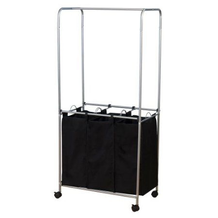 Amazon.com: Household Essentials Rolling Triple Sorter Laundry Center with Black Polyester Bags, Satin Silver Frame: Home & Kitchen