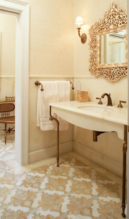 74 Best Images About Bathroom On Pinterest White Vanity Trellis Wallpaper And Tiled Floors