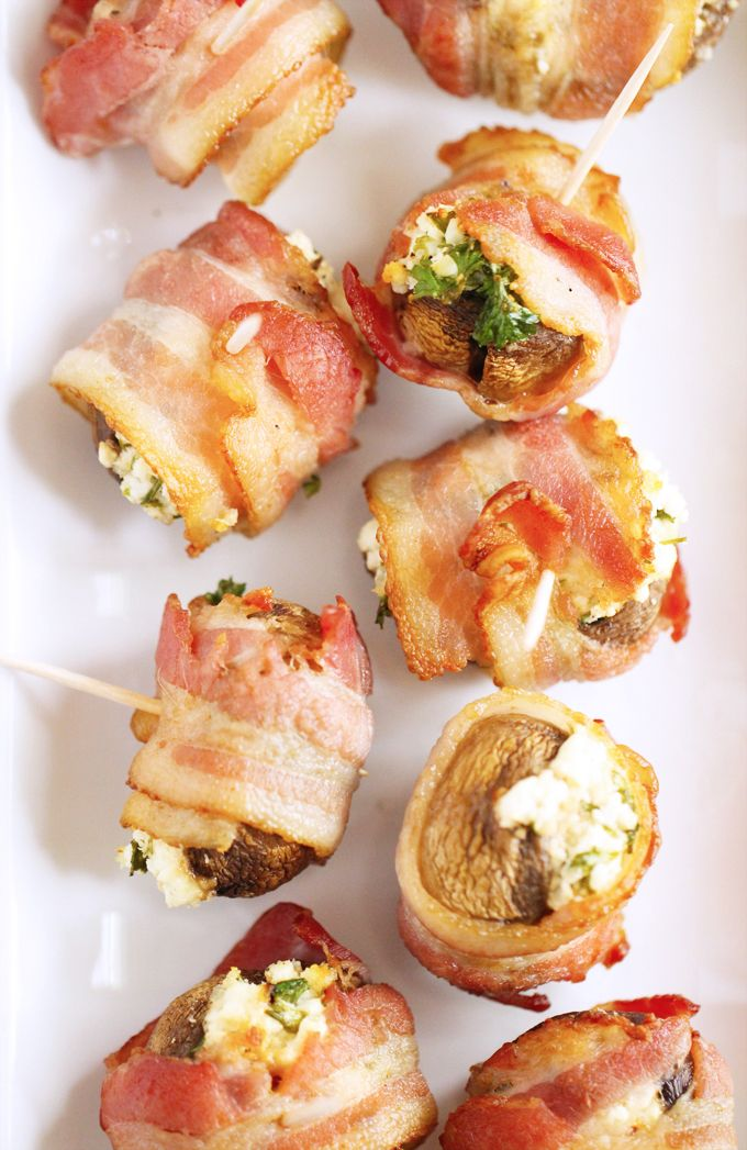 Goat cheese stuffed mushrooms wrapped in bacon. These addicting bite-sized snacks are a real crowd pleaser!