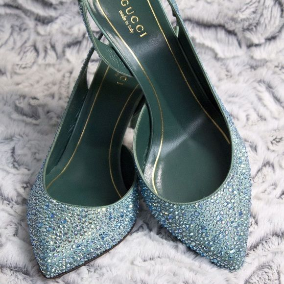 Gucci Blue Jewel Shoes - price firm Brand new blue Gucci shoes Gucci Shoes Sandals