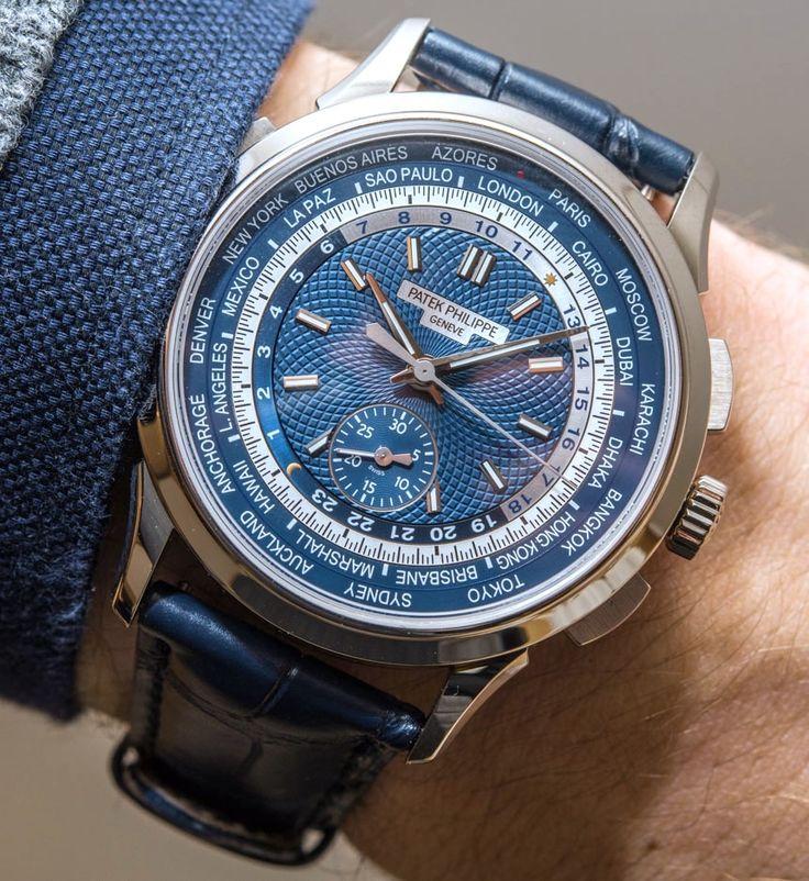 Patek Philippe - Complications Chronograph, ref.5930G - Self-winding, cal.CH 28-520 HU, 4Hz, 55hr p.r., chronograph, world time - 39.5mm, white gold case, blue opaline dial ~66k
