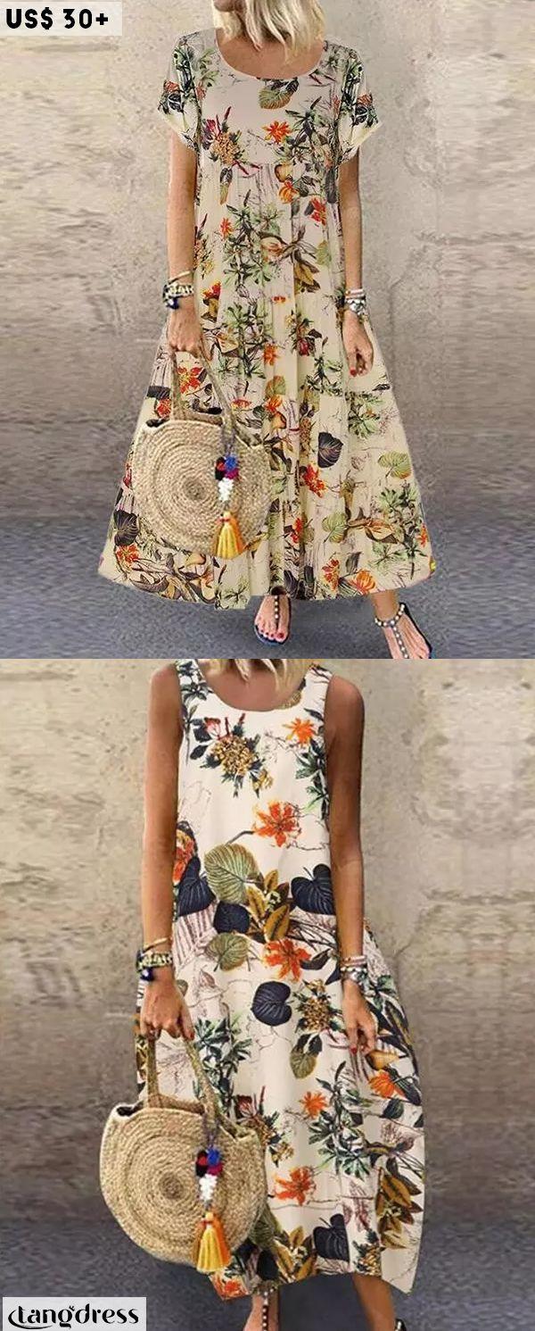 Vintage Floral Printed Short Sleeve Overhead Maxi Dress A Line Maxi Dress Maxi Dress Dresses [ 1491 x 600 Pixel ]