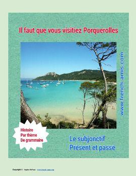 French Subjonctif : a story with exercises -  un dialogue avec Porquerolles en fond #french #subjonctif #fle