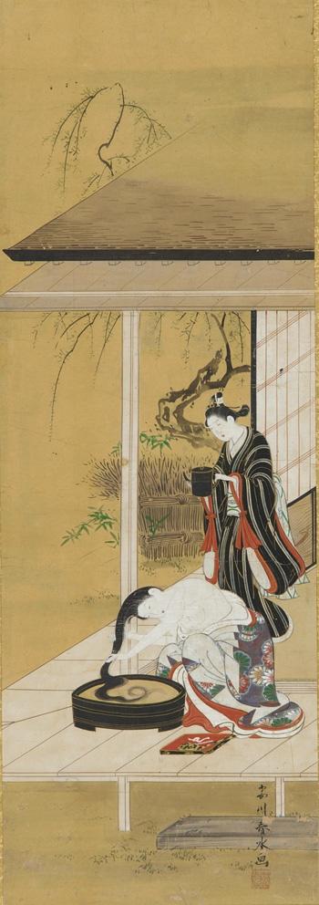 Woman washing her hair with an attendant by Katsukawa Shunsui , (Japanese, fl. 1744 - 1764)