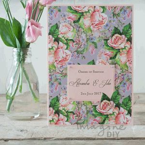 Beautiful floral wedding stationery. Make your own Order of Service Covers. DIY wedding stationery supplies