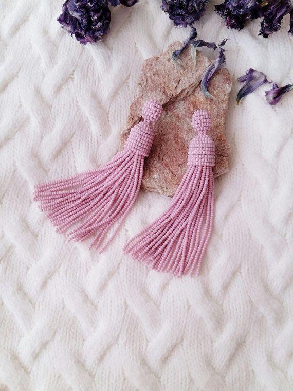 Beaded tassels earrings. Long earrings. Tassels by JewelryByYulia