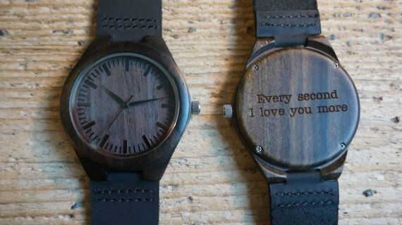 Wooden Watch / black sandal wood Wristwatch - engraved with personal text - Gift for Him/Her, Anniversary, Wedding gift, birthday gift