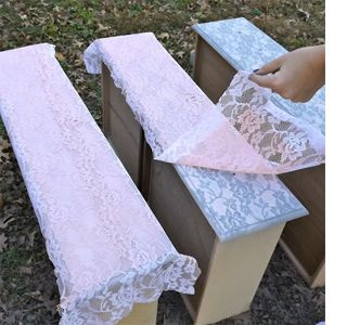 Transform furniture with lace and spray paint. LOVE this idea!! Who needs to buy stencils?? :)