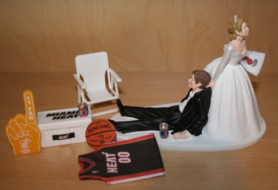 Miami Heat Basketball Wedding Cake Topper Groom by finsnhorns