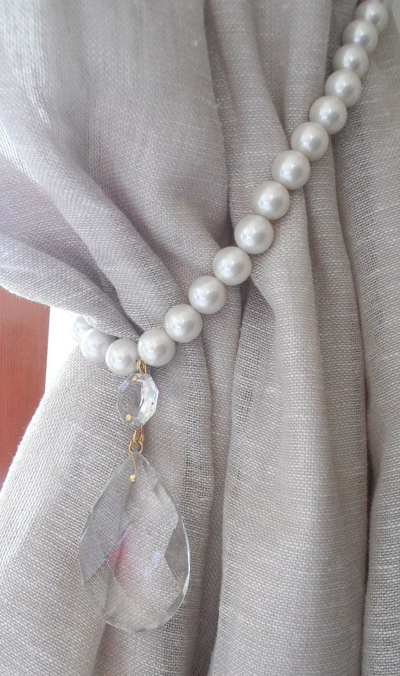 ON SALE Set of 2 pearls and GLASS crystals by MilanChicChandeliers