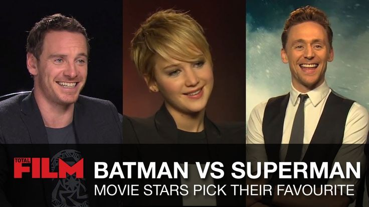 Batman vs Superman: Movie Stars Pick Their Favorite. Jennifer Lawrence, Tom Hiddleston, Michael Fassbender, Harrison Ford, Chris Hemsworth, Jake Gyllenhaal, Hugh Jackman, Roberto Orci, Johnny Knoxville, Elizabeth Banks, Natalie Portman, Kat Dennings, Stan Lee & more weigh in on their favourite character - Batman or Superman. We pick their brains in the run-up to Man of Steel 2!
