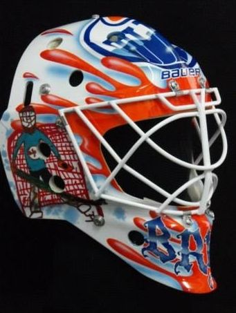When we saw Ilya Bryzgalov before Christmas, he was proudly wearing a rainbow loom elastic band necklace made for him by one of his children, so it should come as no surprise his new Edmonton Oilers mask features art also created by his kids.