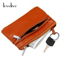 LEVELIVE Genuine Leather Zipper Key Wallet Women Casual Cowhide Card Coin Purse Female Housekeeper Ladies Car Key Holder Pouch