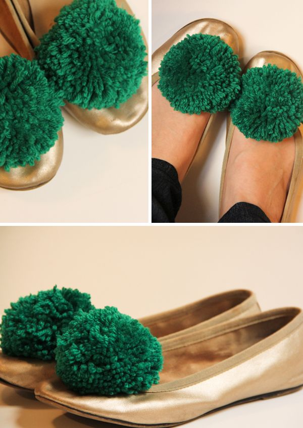 Make a pompom shoe clip. Now this is cool... nice way to revamp an old pair of shoes :)