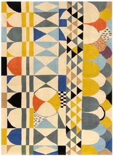 motifs textile : pour un tapis, Josef Frank, 1928, jaune, bleu