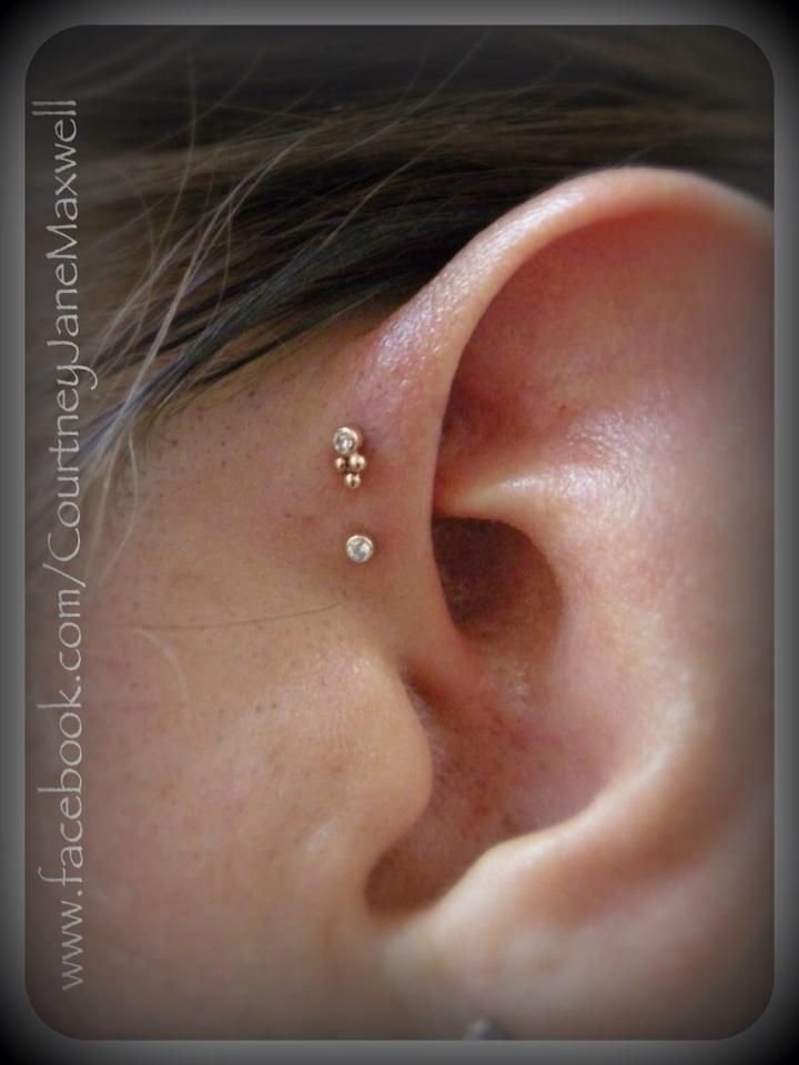 Double forward helix piercings with Rose gold and cz jewelry by BVLA