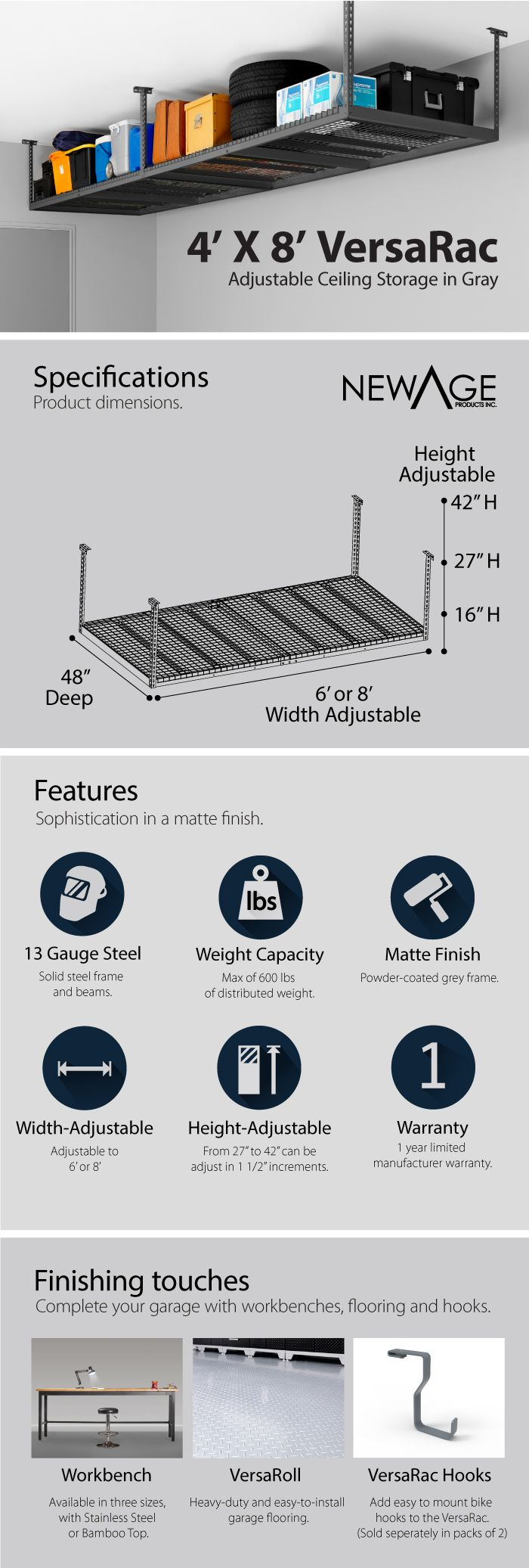 NewAge Products Performance 96 in. L x 48 in. W x 45 in. H Adjustable VersaRac Ceiling Storage Rack in Gray-40151 - The Home Depot.  Tip: Pick up 8 Spax lag bolts.