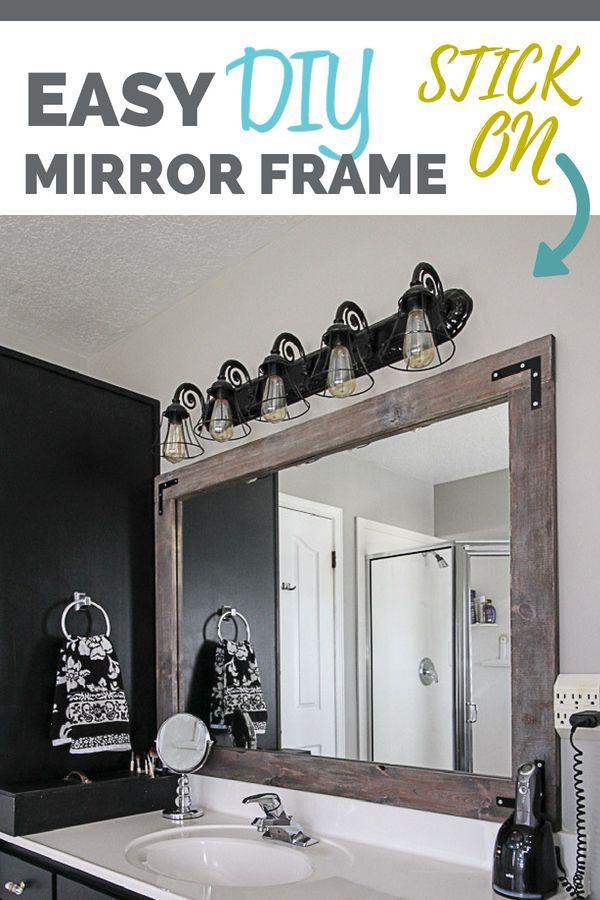 Diy Stick On Mirror Frame Bathroom Mirrors Diy Bathroom Mirror