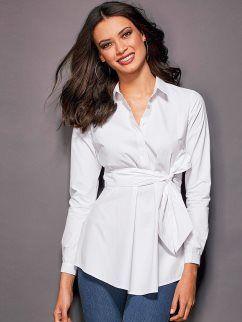 Camisa de mujer con bandas para anudar en algodón popelín