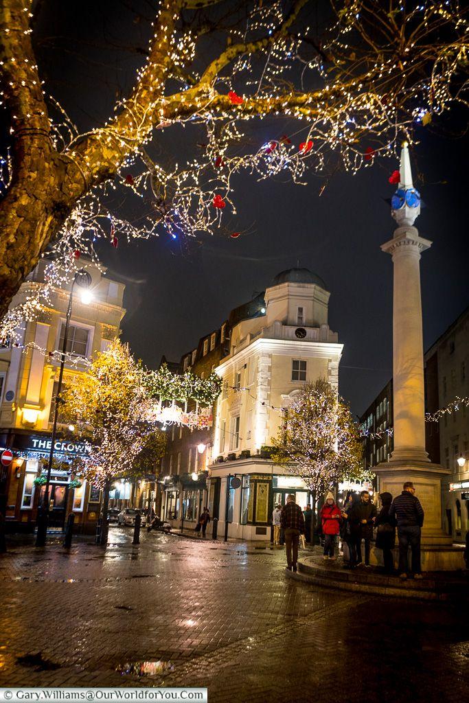 Seven dials at Christmas, Christmas, London, England, UK